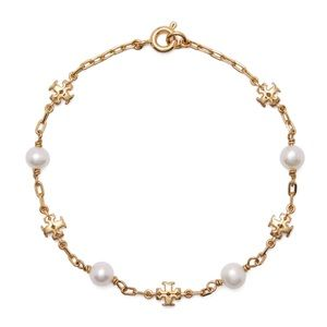 TORY BURCH • Kira Logo Chain Pearl Bracelet
